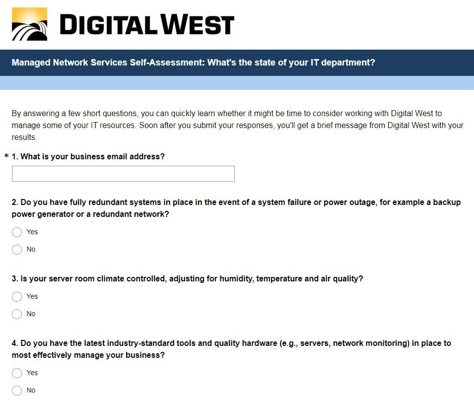 Interactive marketing content self assessment tool exampe