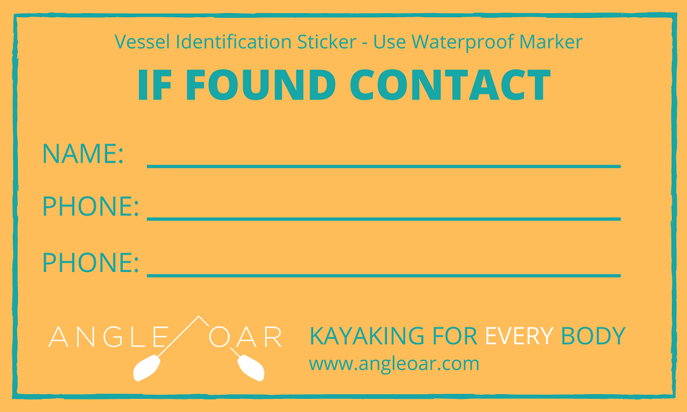 If Found Contact Kayak Tag