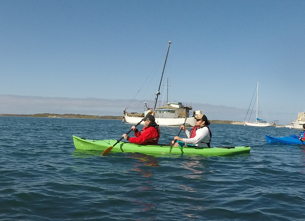 Dana and Student Instructor in kayak on Morro Bay