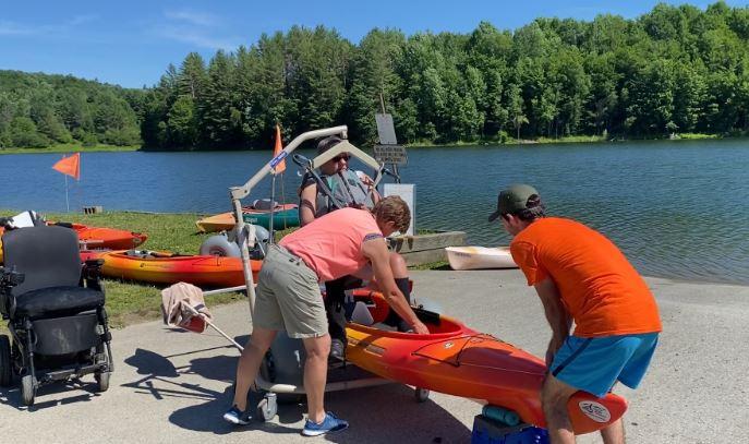 kayak transfer using a hoyer lift