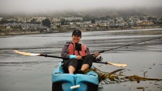 kayak angling on pacific ocean