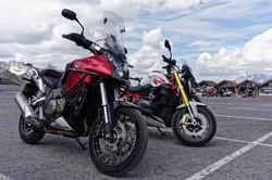 Motorradreise Pause am Gletscher