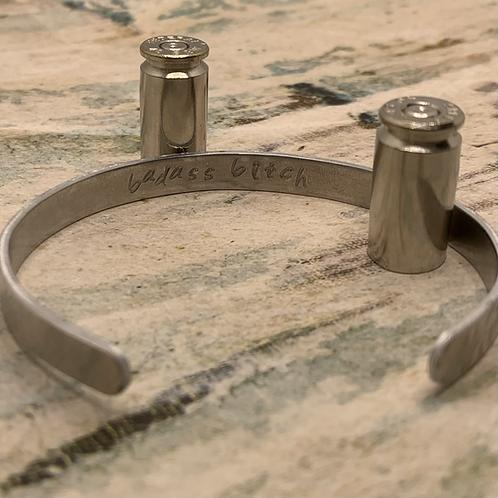 """Badass bitch"" Stamped Bracelet"