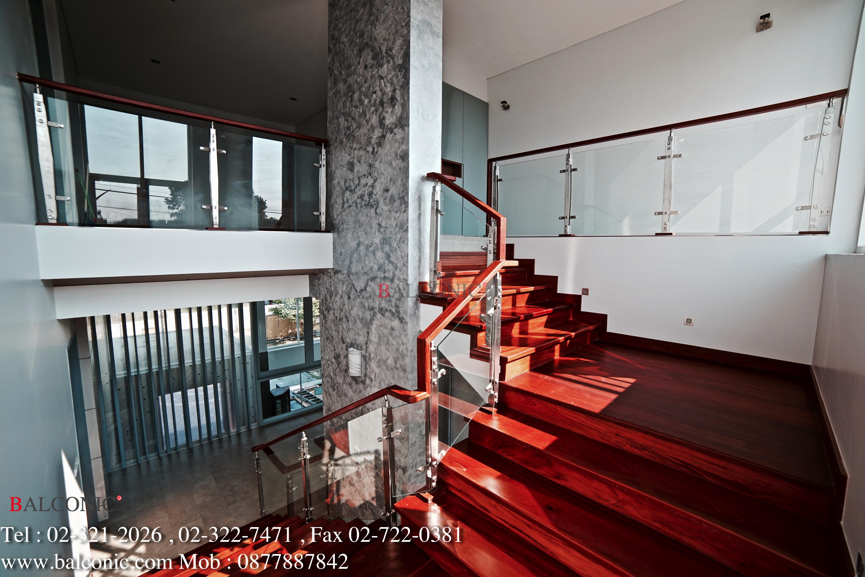 ราวกันตก สแตนเลส กระจก balconic ราวมือจับ ไม้มะค่า loft modern design