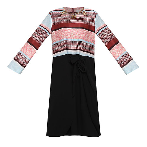 Medina Long Sleeve Carmine Red Midi Dress