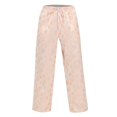 Floral Peach Wide Leg Drawstring Trousers
