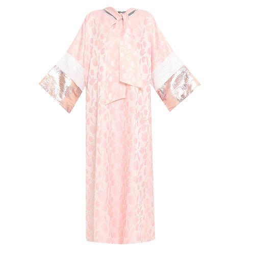 Jacquard Lamé Pink Kaftan Dress