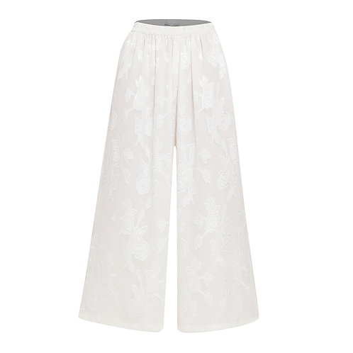 Wide Floral White Culotte Trousers