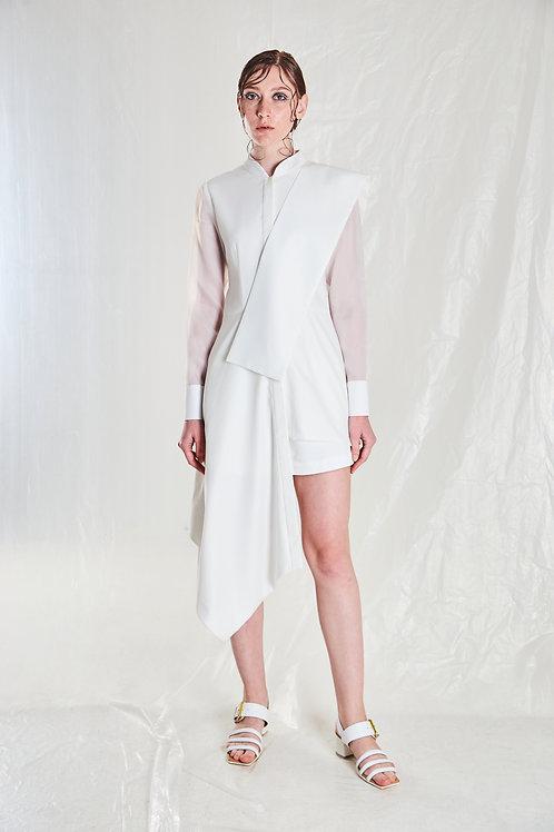 White Asymmetrical Yvain Top