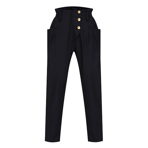 Navy Pegged Trousers