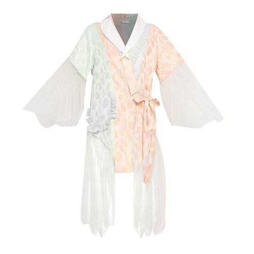 Jacquard Pastels Kimono with Ruffles and Tulle