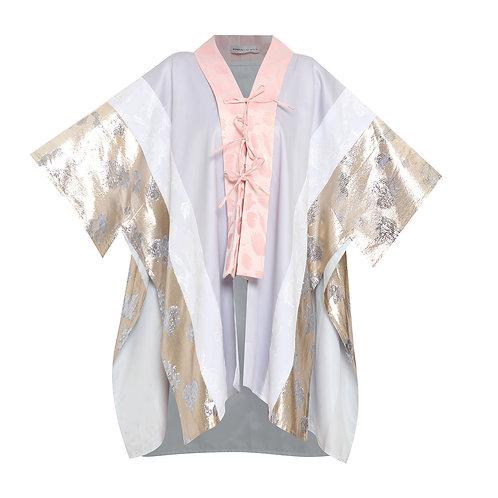 Patchwork Grey Metallic Kimono Outerwear