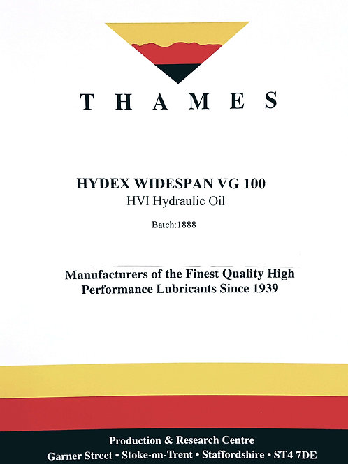 Hydex Widespan VG 100 HVI Hydraulic Oil