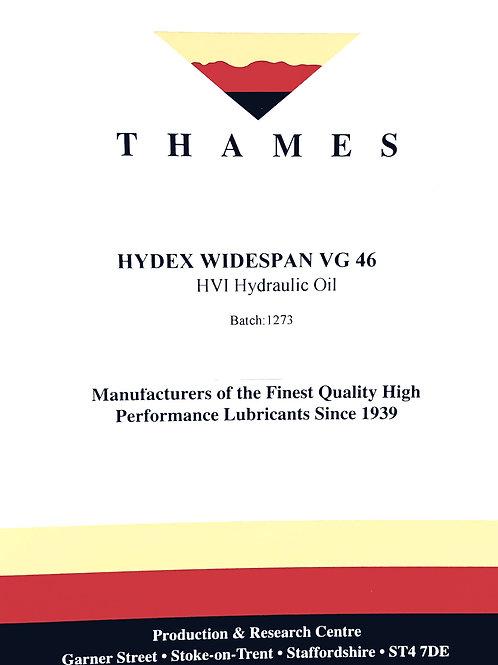 Hydex Widespan VG 46 HVI Hydraulic Oil