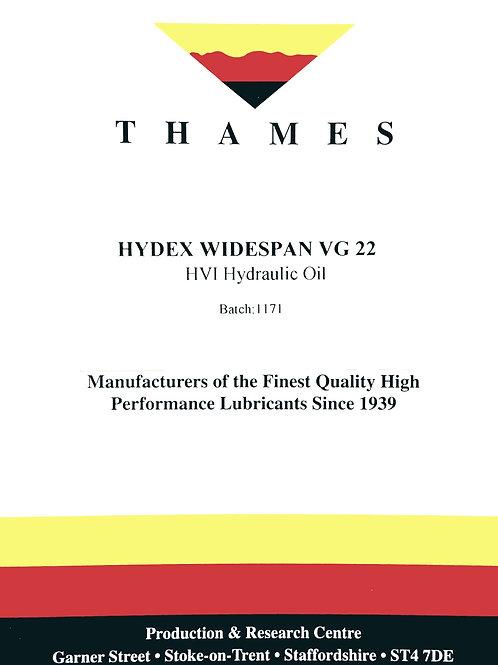 Hydex Widespan VG 22 HVI Hydraulic Oil