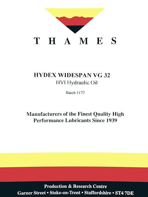Hydex Widespan VG 32 HVI Hydraulic Oil