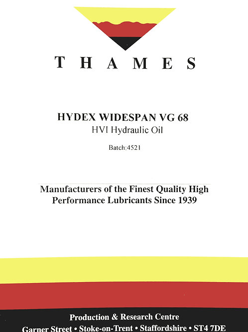 Hydex Widespan VG 68 HVI Hydraulic Oil