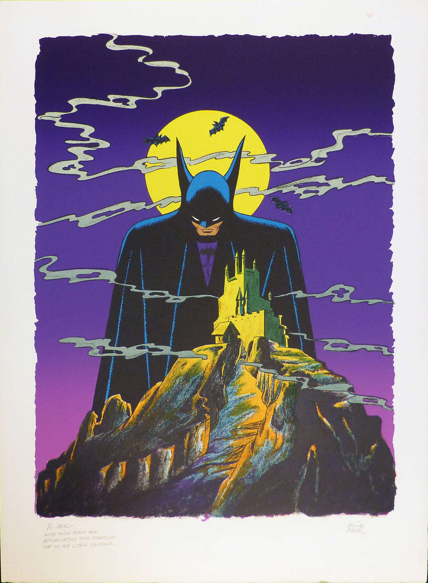 Batman 1978 Lithograph 32 1/2 x 23 1/2 in. Hand-signed and dedicated