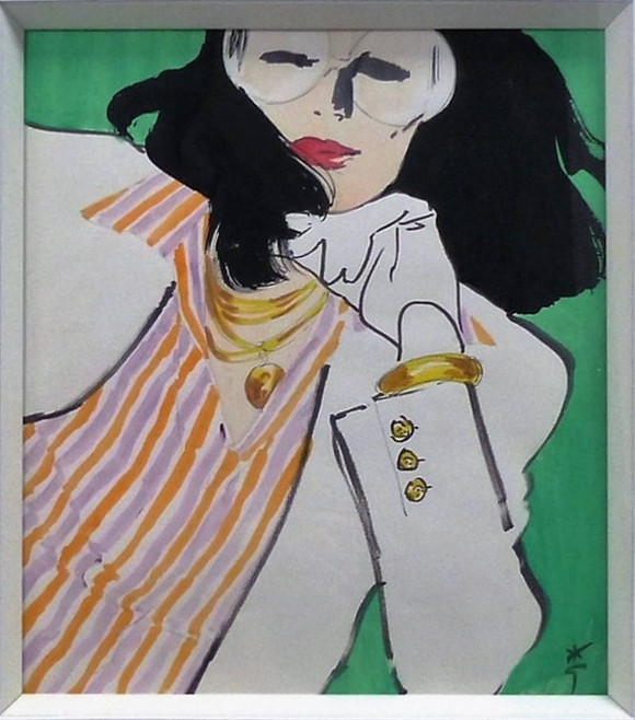 Jacqueline Gouache on paper 25 x 23 1/2 in.  Hand-signed