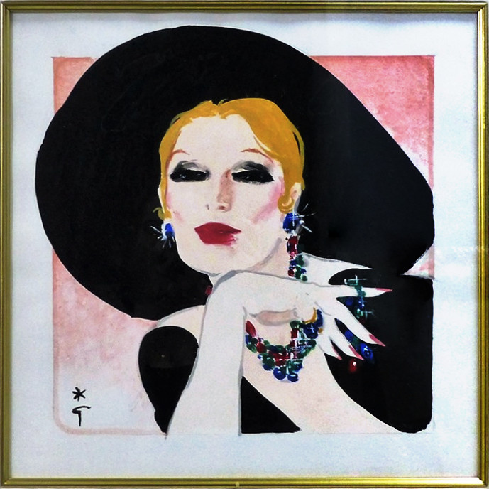 Sophisticated Lady Gouache on paper 16 x 15 in. 26 x 25 in. framed Hand-signed