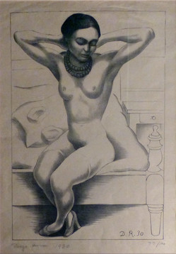 Nude with Beads (Frida Kahlo)  1930 Lithograph on beige laid paper 16 7/16 x 10 7/8 in. 27 x 21 1/2 in. framed 77/100 Hand-signed lower left