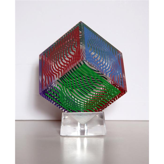 Moire Wave Lucite and silkscreen 4 x 4 x 4 in. 25/200 Hand-signed and numbered