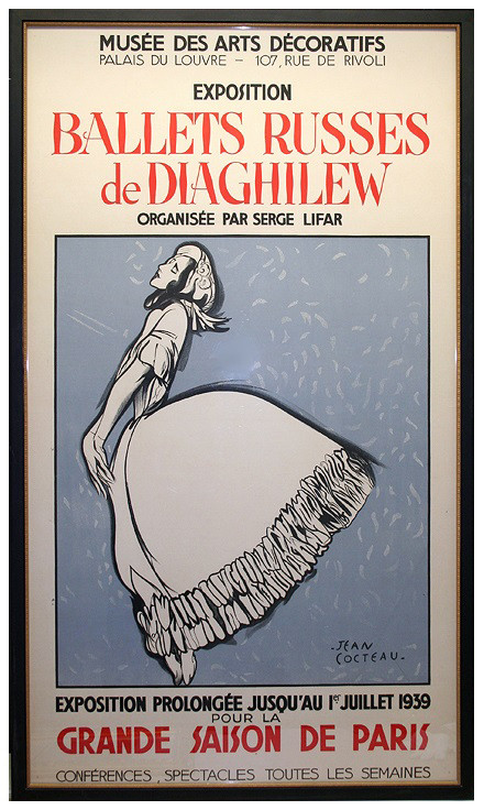 Ballets Russes de Diaghilew  1939 Vintage lithograph poster 61 x 34 in. 64 x 38 in. framed Signature printed lower right