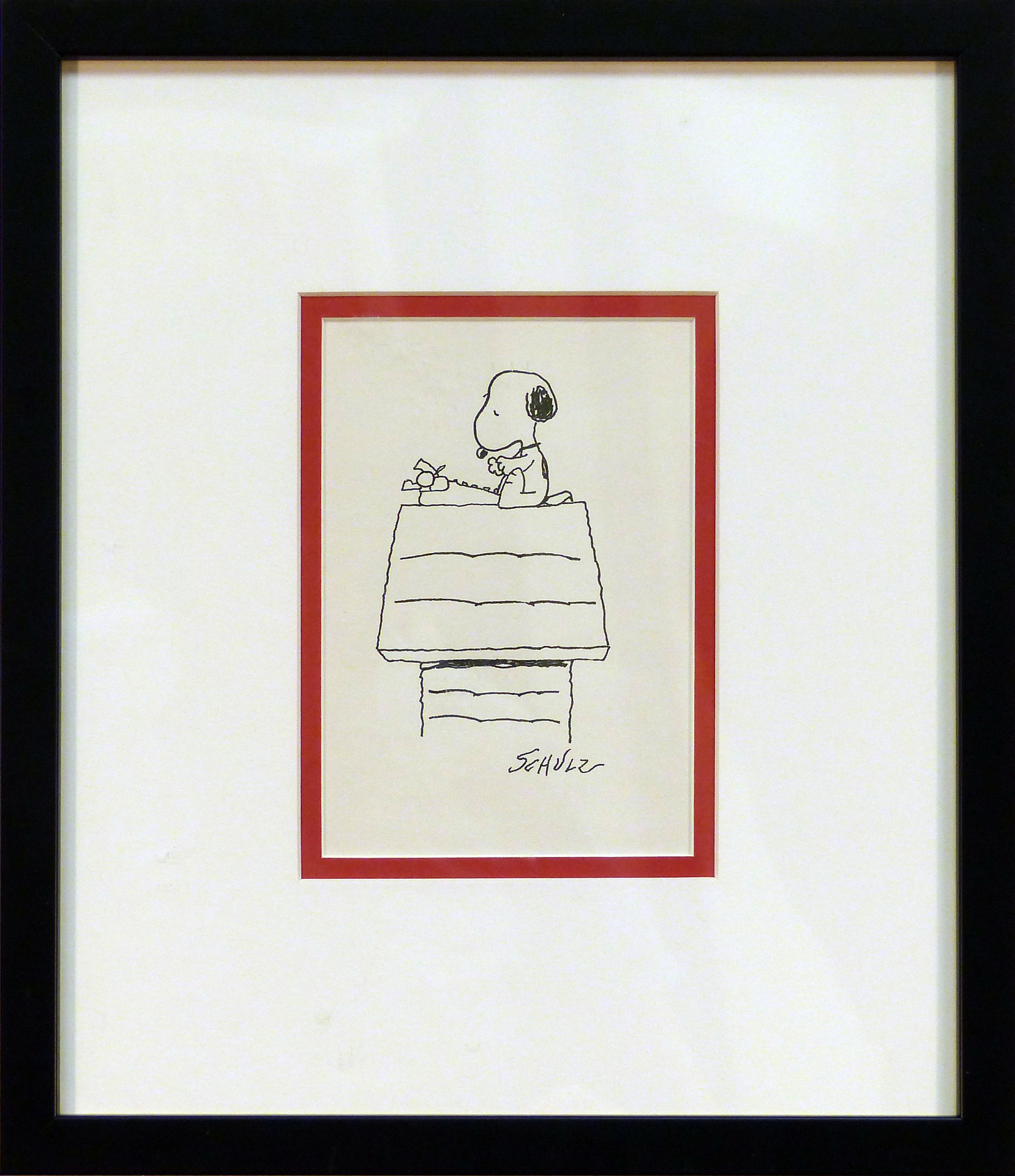 Snoopy/Dog House Ink on paper  7 x 5 in. 14 x 12 in. framed Hand-signed