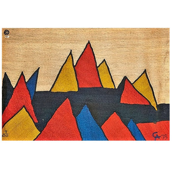 Mountain Peaks 1975 Handwoven maguey jute fiber tapestry 72 x 96 in. 9/100 Embroidered CA 75 lower right  In perfect condition