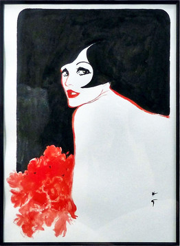Red Rose Gouache on paper 28 3/4 x 14 in. Hand-signed