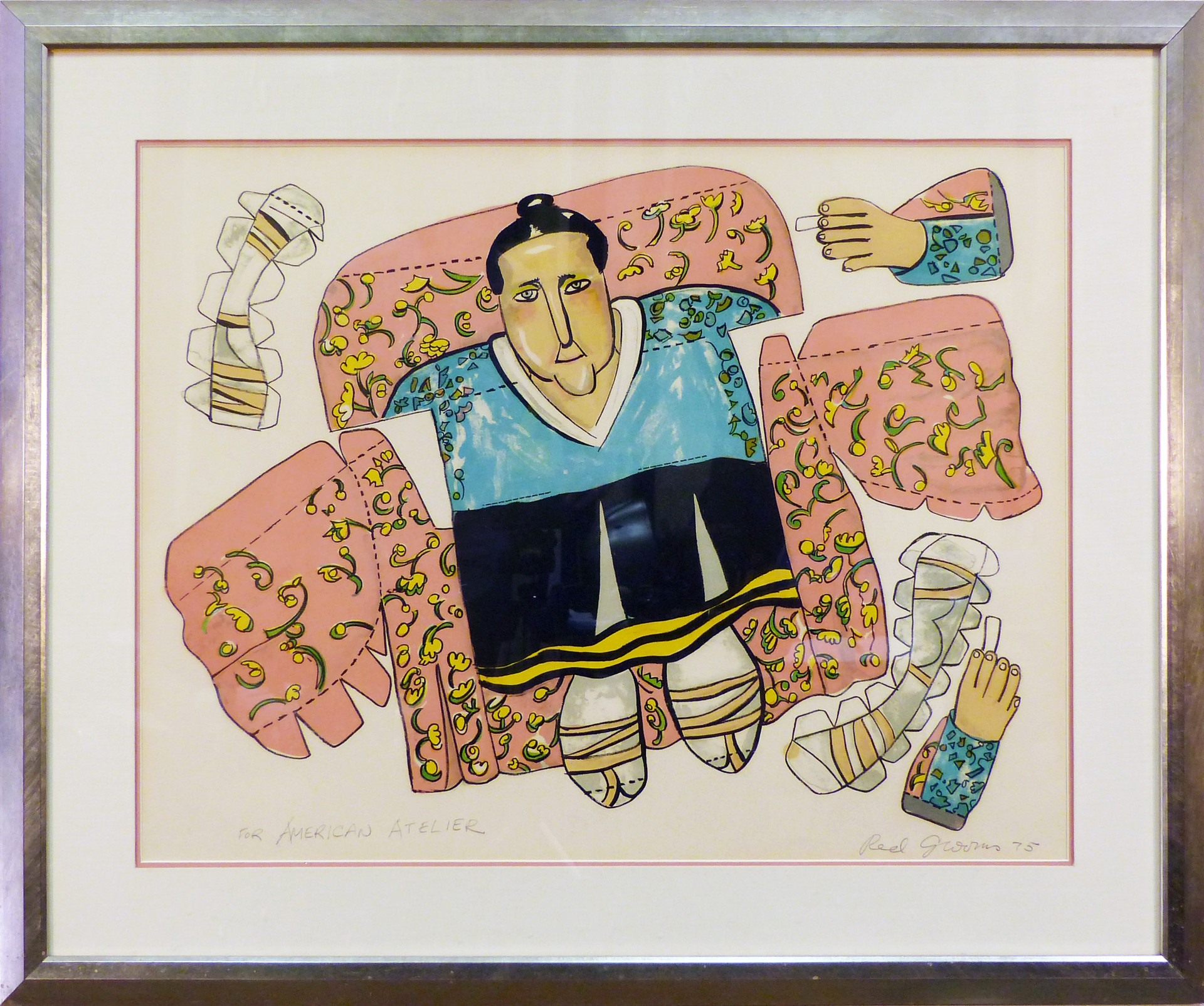 Gertrude Stein 1975 Lithograph 23 x 31 in. 32 x 39 in. framed Hand-signed lower right and dedicated to the American Atelier