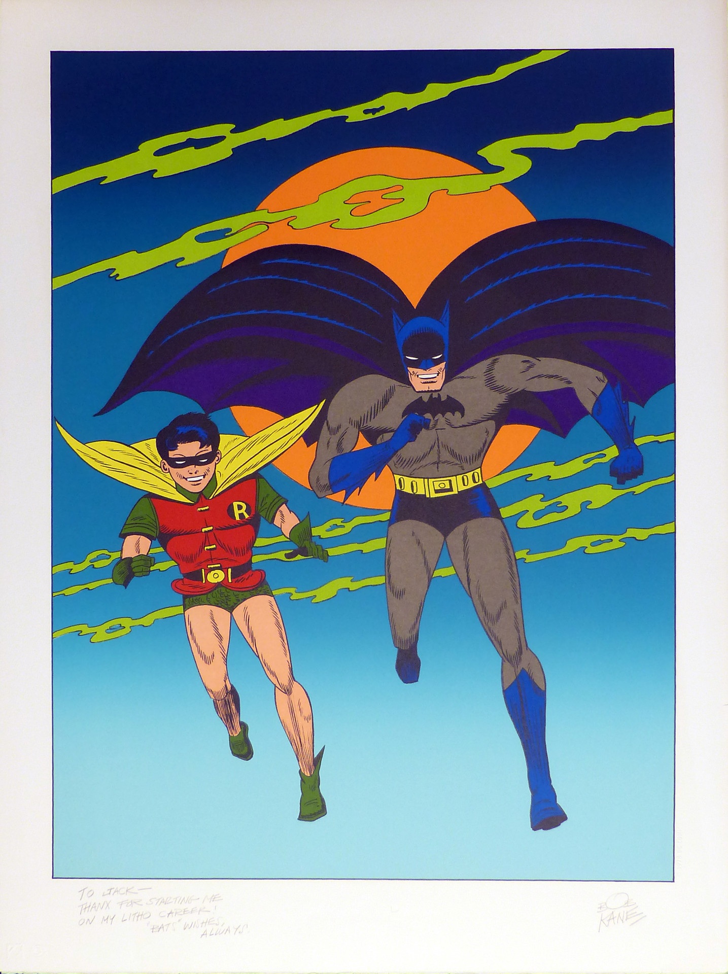 Batman and Robin 1978 Lithograph 32 x 23 3/4 in. Hand-signed and dedicated