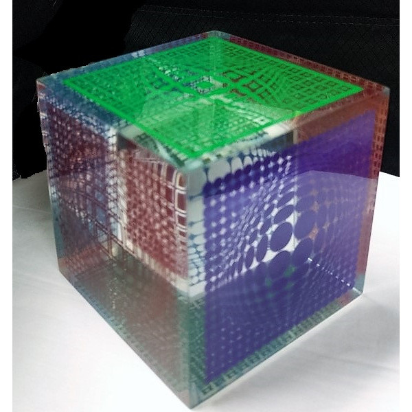 Op Art Cube Lucite and silkscreen 4 x 4 x 4 in. 1/200 Hand-signed and numbered