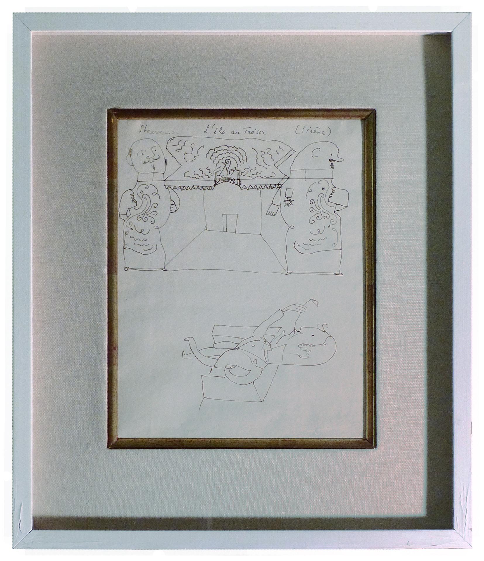 L'ile Au Tre'sor Graphite on paper 9 x 12 in. Hand-signed