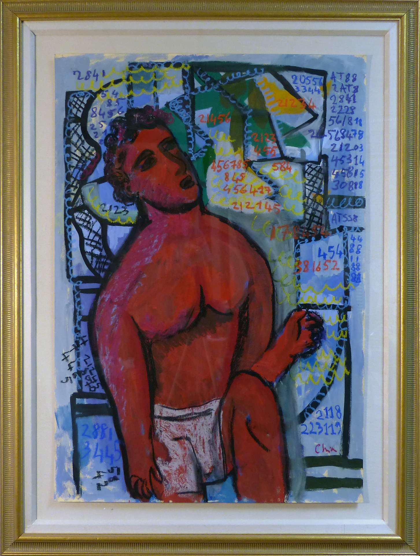 Red Man 223119 Gouache on paper 39 x 28 in. 49 x 38 in. framed Handsigned lower right