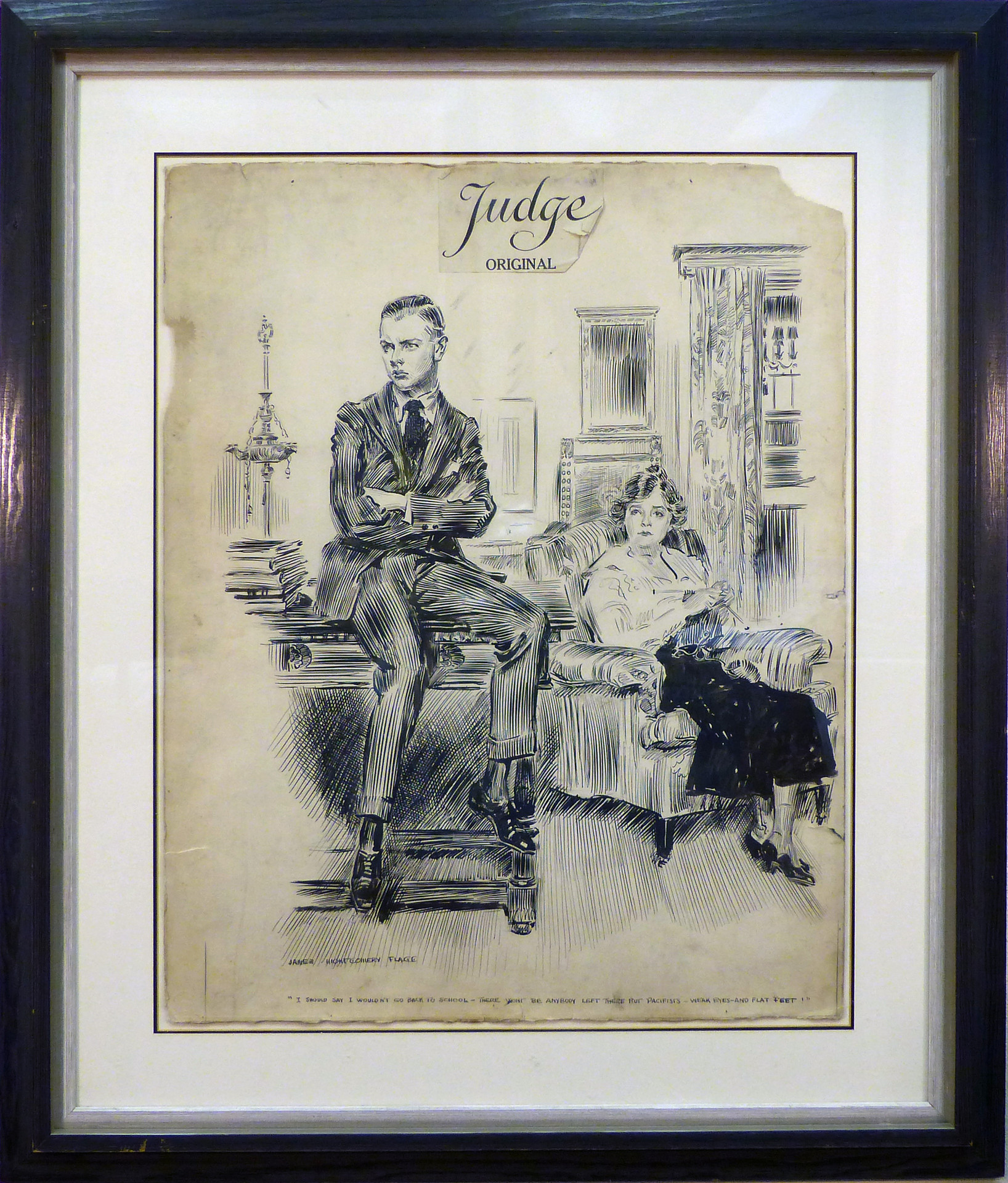 I should say I wouldn't go back to school… Judge Magazine Mixed media on paper 28 1/2 x 22 1/2 in. 40 1/4 x 34 in. framed Hand-signed