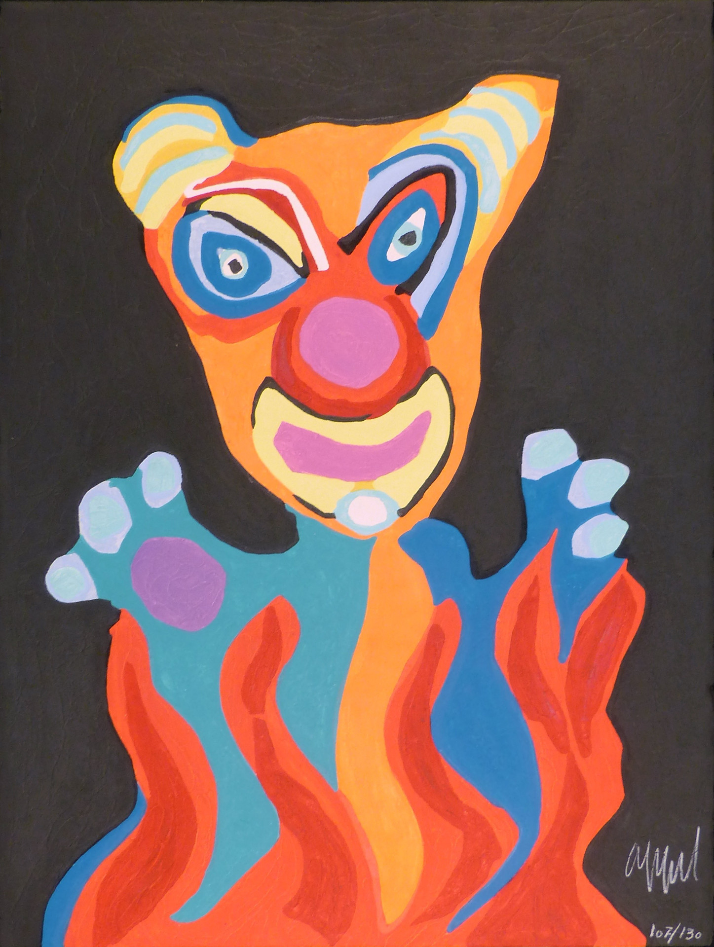 Clown, The Circus Suite  1978 Woodcut engraving with carborudum embossing  30 x 22 in. 107/130 Hand-signed and numbered lower left