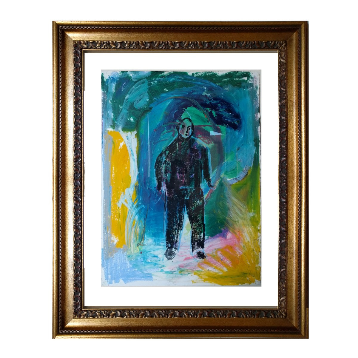 Han Blue Background Gouache on paper 30 x 21 in. 44 x 34 in. framed Handsigned lower right