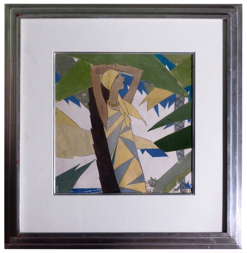 Amid the Palms (Vogue Magazine) January 1927 Gouache on paper 11 x 11 in. 20 x 20 in. framed Hand-signed lower left