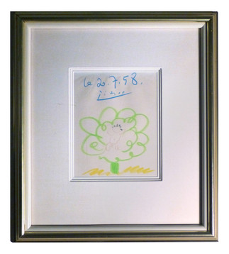 C'est un garcon!  1958 Colored pencil on paper 9 1/4 x 7 1/2 in. 20 x 17 3/4 in. framed Hand-signed and dated