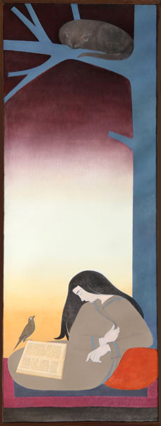 The Caller 1976 Oil on canvas 91.5 x 31.5 in. 92.5 x 32 in. framed Hand-signed and dated on reverse