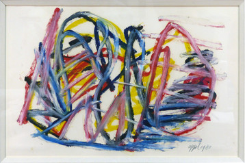 Untitled 1980 Acrylic on paper 14 x 22 in. 28 x 35 in. framed Hand-signed and dated lower right