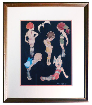 5 Flappers Mixed media on paper 20 x 17 in. Hand-signed lower right