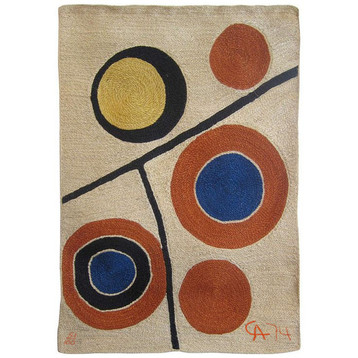 Floating Circles 1974 Handwoven maguey jute fiber tapestry 85 x 56.3 in. 51/100 Embroidered CA 74 lower right
