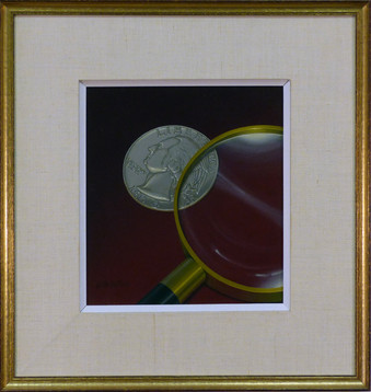 Two Sided Coin Oil on canvas 11 x 10 in. 19 x 18 in. framed Hand-signed