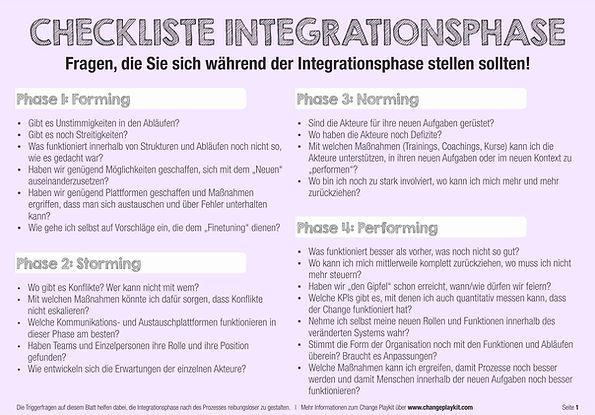 Checkliste für die Integrationsphase des Veränderungsprozesses