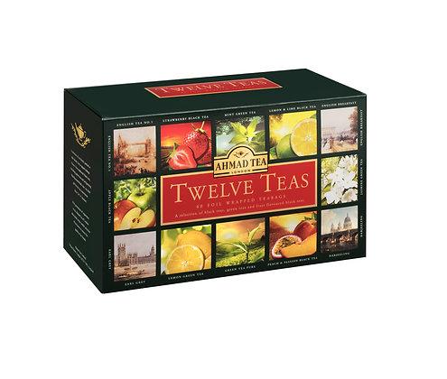 מארז 12 סוגי תה שחור ותה פירות 60 שקיות
