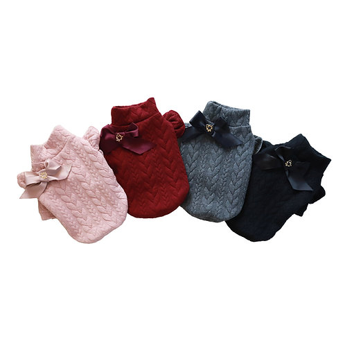 Cable Knit Jersey Turtleneck Top