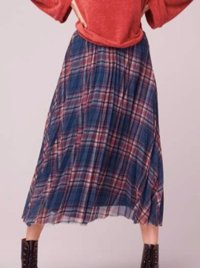 Spring in your Step Plaid Pleated Midi Skirt