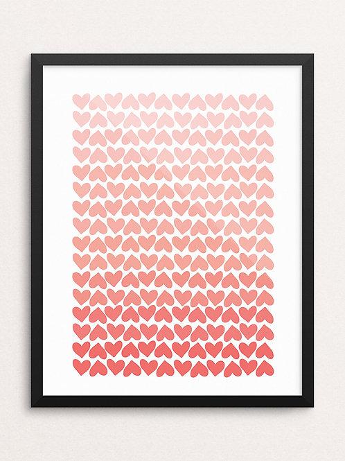 OMBRE HEARTS // Art Print